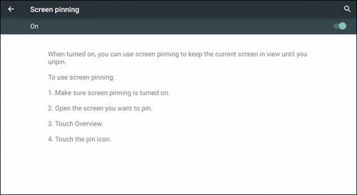 فعال کردن قابلیت screen pinning در اندروید 5