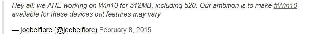 احتمال ارائه ویندوز 10 برای لومیاهای با رم 512MB