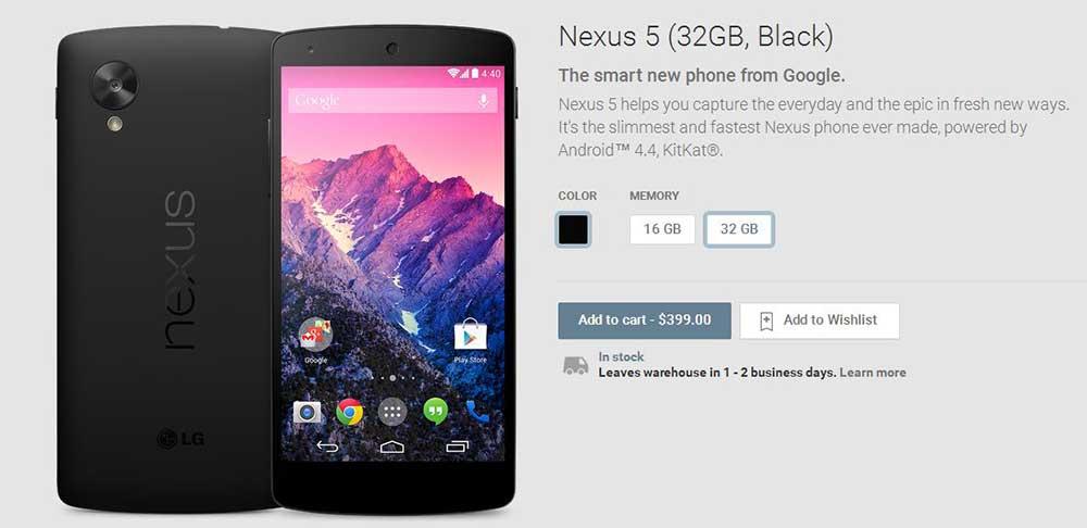 بازگشت آرام Nexus 5 به Play store