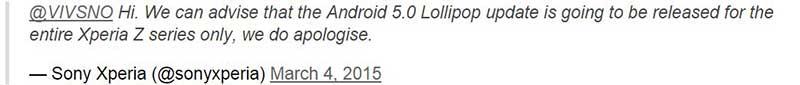 ارائه شدن اندروید 5 تنها برای گوشیهایی سری z سونی