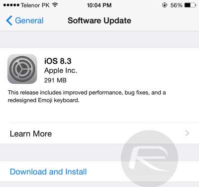 ارائه نسخه جدید ios 8.3
