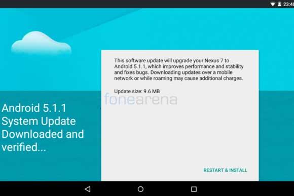 آپدیت اندروید 5.1.1 برای نکسوس 7 2012