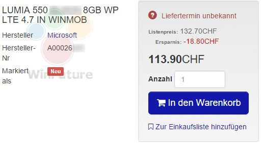 لومیا 550 مایکروسافت